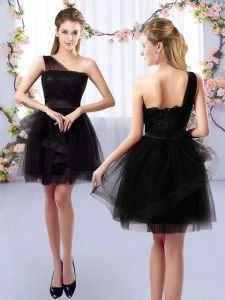 Fine Black Sleeveless Mini Length Lace Side Zipper Quinceanera Court Dresses