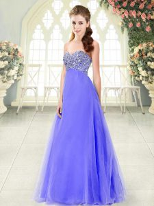 Dazzling Tulle Sweetheart Sleeveless Lace Up Beading Dress for Prom in Lavender
