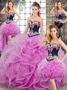 High End Lilac Vestidos de Quinceanera Sweetheart Sleeveless Sweep Train Lace Up