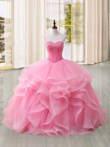High Quality Pink Sweetheart Lace Up Beading and Ruffles Quinceanera Gowns Sweep Train Sleeveless