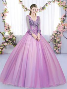 Best Selling Lilac Ball Gowns Tulle V-neck Long Sleeves Lace and Appliques Floor Length Lace Up Sweet 16 Dresses