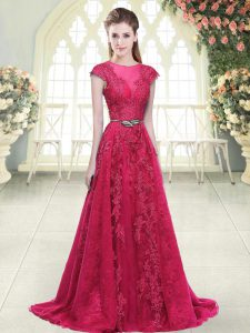 Traditional Pink Scoop Zipper Beading and Lace and Appliques Prom Dresses Sweep Train Cap Sleeves