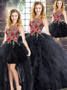 Fashionable Black Zipper Quinceanera Dresses Embroidery and Ruffles Sleeveless Floor Length