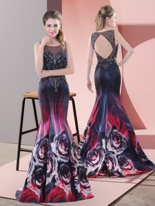 Affordable Sleeveless Printed Sweep Train Backless Dress for Prom in Multi-color with Beading