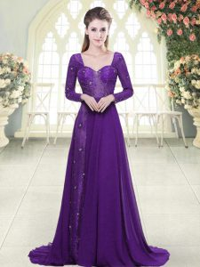 Long Sleeves Beading and Lace Backless Prom Dresses with Eggplant Purple Sweep Train
