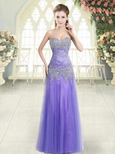 Glamorous Sleeveless Zipper Floor Length Beading Prom Evening Gown