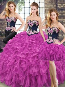 Spectacular Sweetheart Sleeveless Lace Up Sweet 16 Dresses Fuchsia Organza