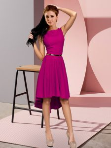 Fine High Low Fuchsia Dress for Prom Sleeveless Belt