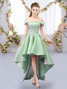 Dazzling Green Sleeveless Satin Lace Up Quinceanera Dama Dress for Prom and Party and Wedding Party