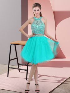 Fine Turquoise Organza Backless Prom Evening Gown Sleeveless Knee Length Beading