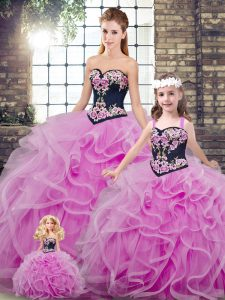 Tulle Sleeveless Sweet 16 Dresses Sweep Train and Embroidery and Ruffles