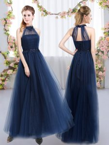 Wonderful Navy Blue Sleeveless Appliques Floor Length Vestidos de Damas