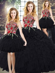 Black Sleeveless Organza Zipper 15 Quinceanera Dress for Military Ball and Sweet 16 and Quinceanera