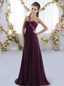 Sleeveless Brush Train Beading Lace Up Damas Dress