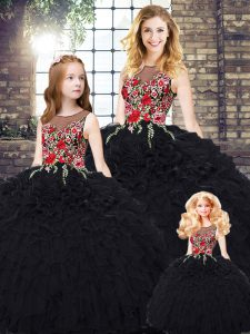 Fashion Floor Length Ball Gowns Sleeveless Black Quinceanera Gown Zipper