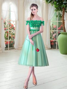 Turquoise Sleeveless Tea Length Appliques Lace Up Prom Dress