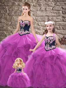 Luxury Sleeveless Floor Length Beading and Embroidery Lace Up Sweet 16 Quinceanera Dress with Purple