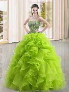 Inexpensive Yellow Green Organza Lace Up Quince Ball Gowns Sleeveless Floor Length Beading and Ruffles