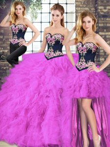 Dazzling Fuchsia Sweetheart Neckline Beading and Embroidery Sweet 16 Dress Sleeveless Lace Up