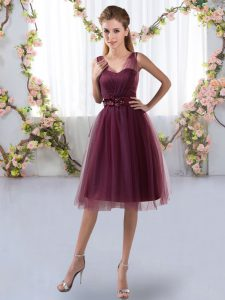 Elegant Sleeveless Knee Length Appliques Zipper Damas Dress with Burgundy