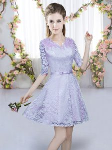 Low Price Lavender V-neck Neckline Belt Vestidos de Damas Half Sleeves Zipper