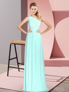 Apple Green Prom Party Dress Prom and Party with Ruching One Shoulder Sleeveless Lace Up