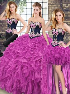 Most Popular Sleeveless Sweep Train Embroidery and Ruffles Lace Up Quinceanera Gown