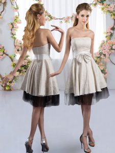 White Tulle Zipper Vestidos de Damas Sleeveless Knee Length Bowknot