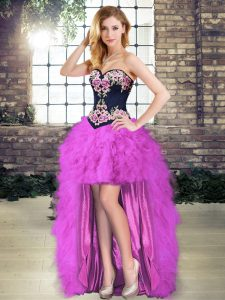 Purple Lace Up Prom Evening Gown Embroidery and Ruffles Sleeveless High Low