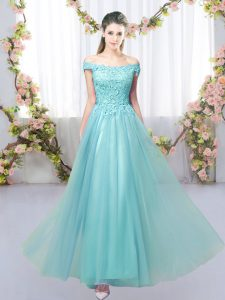 Chic Floor Length Aqua Blue Quinceanera Court Dresses Off The Shoulder Sleeveless Lace Up