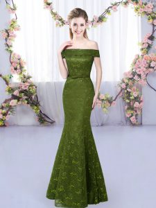 Discount Olive Green Mermaid Off The Shoulder Sleeveless Floor Length Lace Up Lace Quinceanera Court of Honor Dress