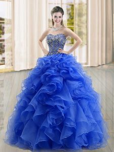 Edgy Ball Gowns Vestidos de Quinceanera Blue Sweetheart Organza Sleeveless Floor Length Lace Up