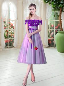 Lovely Lilac A-line Tulle Off The Shoulder Sleeveless Appliques Tea Length Lace Up Dress for Prom