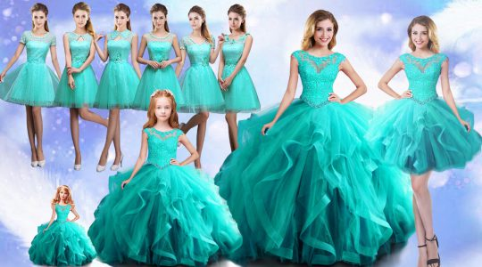 Scoop Cap Sleeves Lace Up Beading Sweet 16 Dress in Aqua Blue