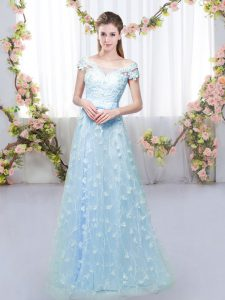 Modest Off The Shoulder Cap Sleeves Tulle Quinceanera Dama Dress Appliques Lace Up