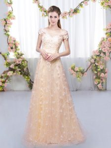 Enchanting Peach Off The Shoulder Lace Up Appliques Dama Dress for Quinceanera Cap Sleeves
