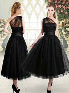 Super Black One Shoulder Neckline Ruching Prom Gown Sleeveless Side Zipper