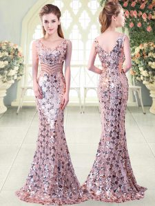 Stunning Floor Length Pink Prom Party Dress Sequined Sleeveless Beading