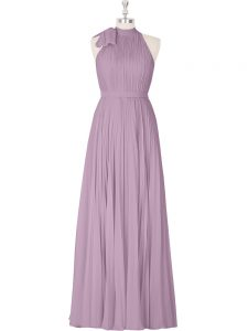 Hot Selling Purple A-line Ruching Prom Dress Zipper Sleeveless Floor Length