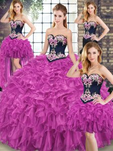 Fuchsia Sweetheart Lace Up Embroidery and Ruffles Quinceanera Dress Sweep Train Sleeveless