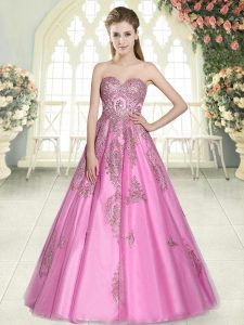 Rose Pink A-line Sweetheart Sleeveless Tulle Floor Length Lace Up Appliques Prom Gown