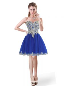 Dazzling Royal Blue A-line Beading and Appliques Dress for Prom Lace Up Tulle Sleeveless Mini Length