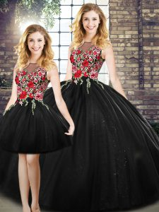 Lovely Black Sleeveless Tulle Zipper Sweet 16 Dress for Military Ball and Sweet 16 and Quinceanera