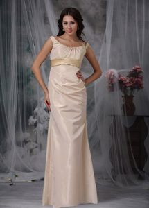 Satin Prom Dress in Champagne with Off The Shoulder Strap