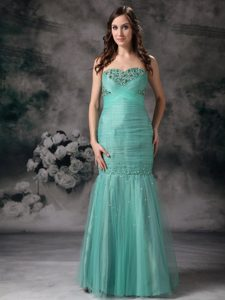 Mermaid Dress for Prom in Turquoise with Beading and Ruche