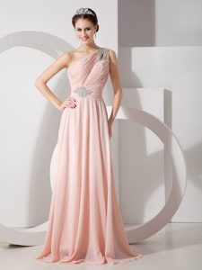 One Shoulder Chiffon Prom Dress with Ruche and Brush Train