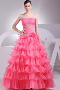2013 Organza Ruffled Layers Prom Dress in Watermelon Red
