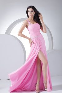High Slit Pink Prom Dress with Beading and Ruche for 2013