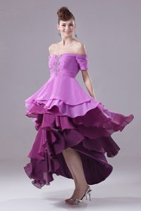 Off The Shoulder High-low Prom Dress with Ruffled Layers