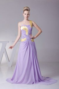 Chiffon One Shoulder Prom Dress in Lilac with Brush Train